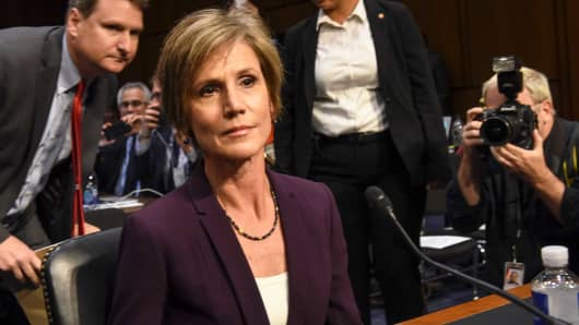 Former Acting Attorney General Sally Yates arrives at the Senate Judiciary Committee subcommittee hearing on Russian interference in the 2016 election, on May, 08, 2017 in Washington, DC.