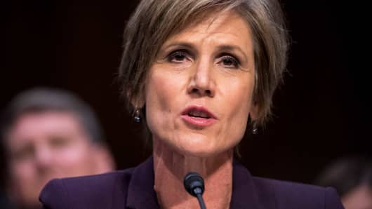 Former acting Attorney General Sally Yates testifies during the Senate Judiciary, Subcommittee on Crime and Terrorism hearing on Russian Interference in the 2016 United States Election on Monday, May 8, 2017.