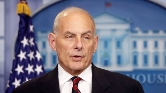 Secretary of Homeland Security John Kelly speaks about border security during a press briefing at the White House in Washington, May 2, 2017.