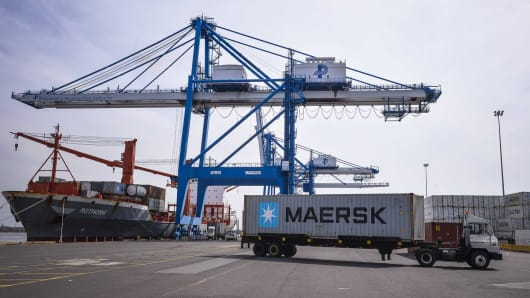 A truck transports a Maersk BV shipping container through the Port of Philadelphia in Philadelphia, Pennsylvania.