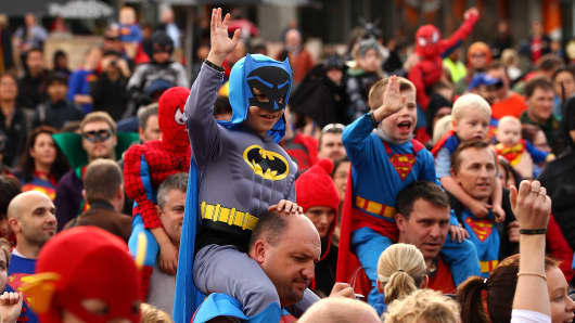 Melburnians dressed as superheroes participate in a Guinness World Record attempt for the most number of people dressed in superhero costume at Federation Square on May 29, 2010 in Melbourne, Australia. The event was organised to mark the 75th anniversary