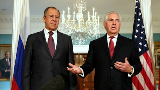 U.S. Secretary of State Rex Tillerson (R) talks to the media next to Russian Foreign Minister Sergey Lavrov before their meeting at the State Department in Washington, U.S., May 10, 2017.
