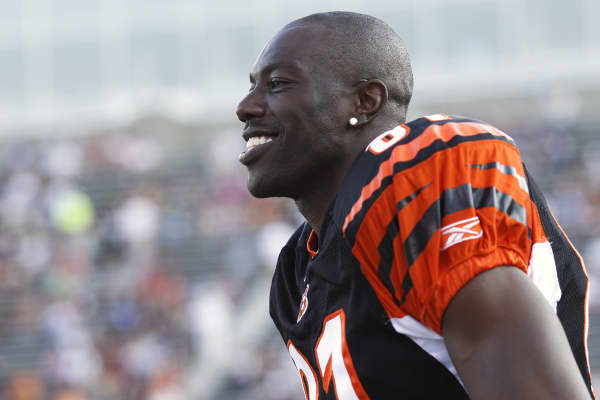 Terrell Owens as #81 on the Cincinnati Bengals during the 2010 Pro Football Hall of Fame Game