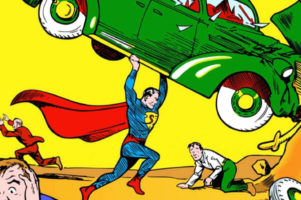 """Action Comics No. 1,″ created by Jerry Siegel and Joe Shuster, was first published in June 1938."