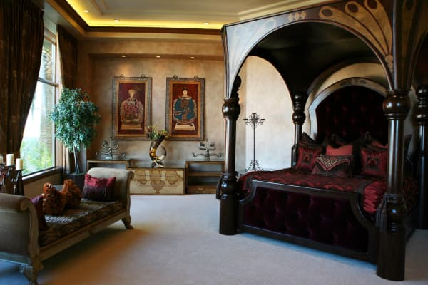 The master bedroom of a luxury home previously owned by actor Nicolas Cage is seen in Las Vegas, Nevada.