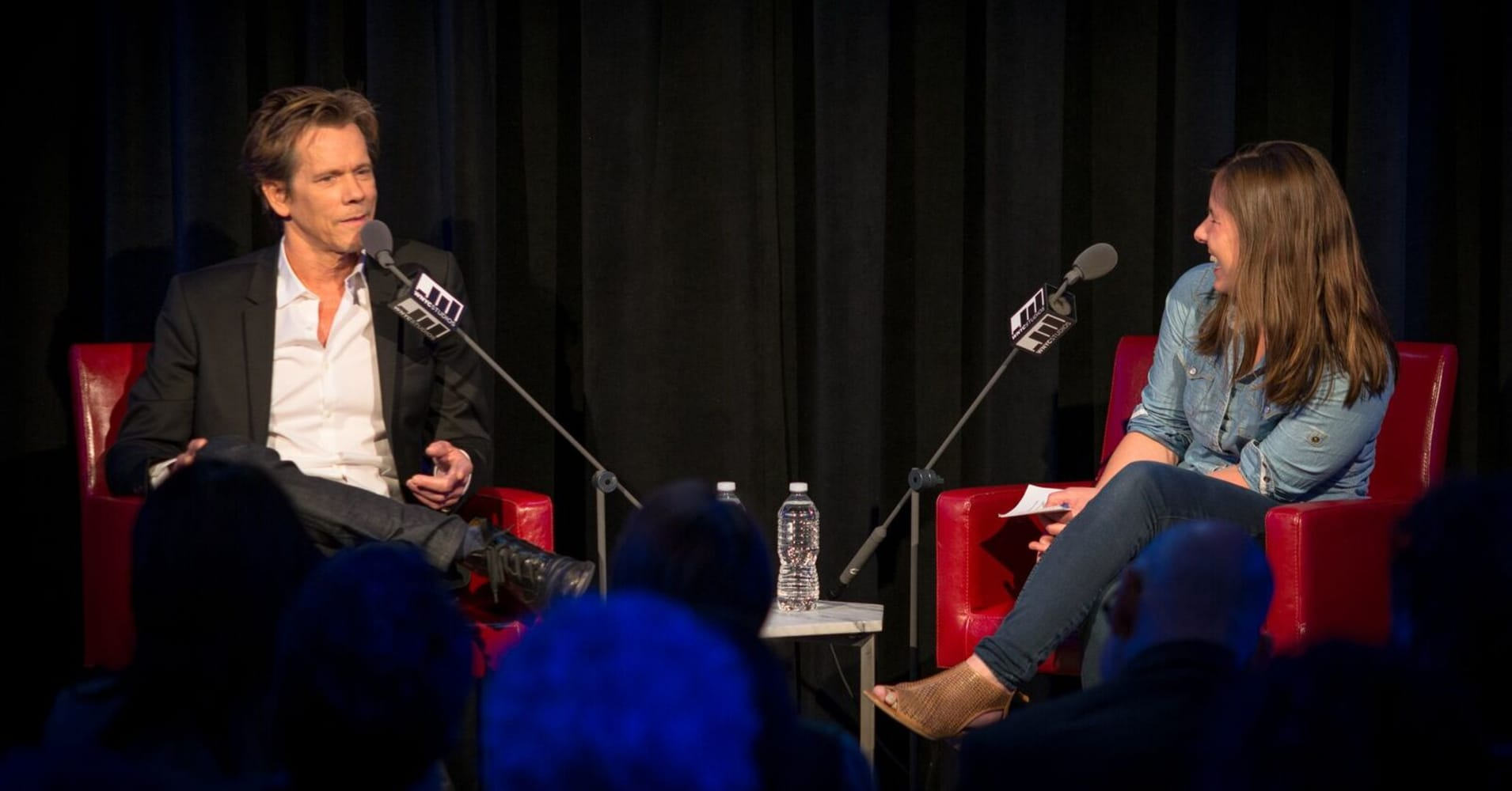 Kevin Bacon speaks with Anna Sale. Photo by Janice Yi for WNYC.