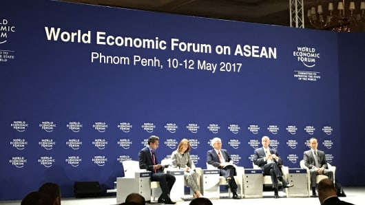 CNBC's Sri Jegarajah speaking with a panel of experts at the World Economic Forum's 2017 ASEAN meeting in Phnom Penh, Cambodia.