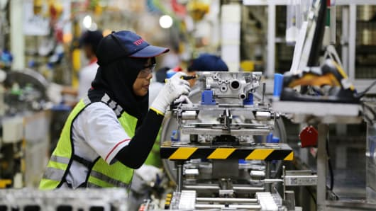 An employee at work in the Toyota Motor manufacturing plant in Karawang, West Java in Indonesia on April 4, 2017.