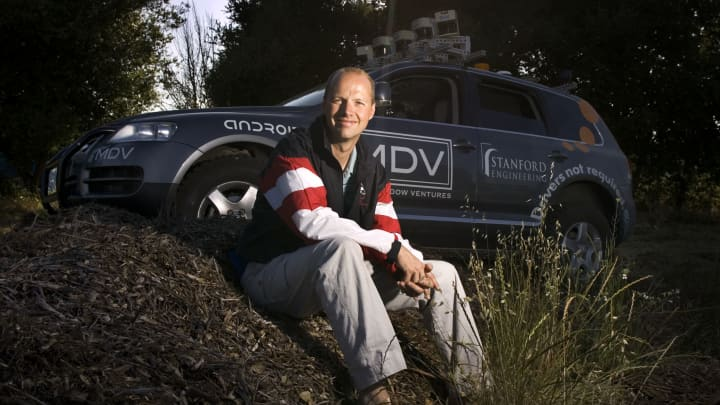 Sebastian Thrun in 2005 in front of the autonomous car he helped develop.