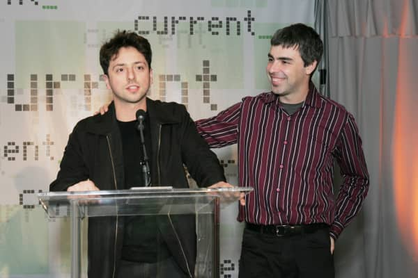 Sergey Brin and Larry Page, co-founders of Google, at an event in 2005, around the time they met Sebastian Thrun.