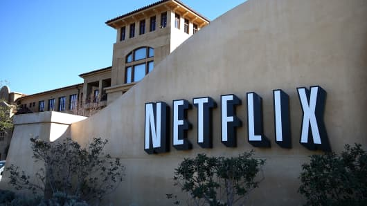 A sign is posted in front of the Netflix headquarters in California