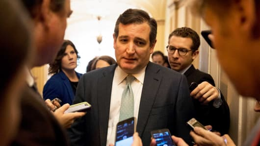 Sen. Ted Cruz speaks to reporters on Capitol Hill