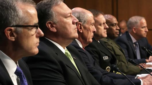 The heads of the United States intelligence agencies (L-R) Acting FBI Director Andrew McCabe, Central Intelligence Agency Director Mike Pompeo, Director of National Intelligence Daniel Coats, National Security Agency Director Adm. Michael Rogers, Defense Intelligence Agency Director Lt. Gen. Vincent Stewart and National Geospatial-Intelligence Agency Director Robert Cardillo testifiy before the Senate Intelligence Committee May 11, 2017 in Washington, DC.