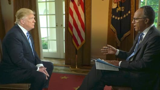 NBC's Lester Holt interviews Donald Trump on May 11, 2017.