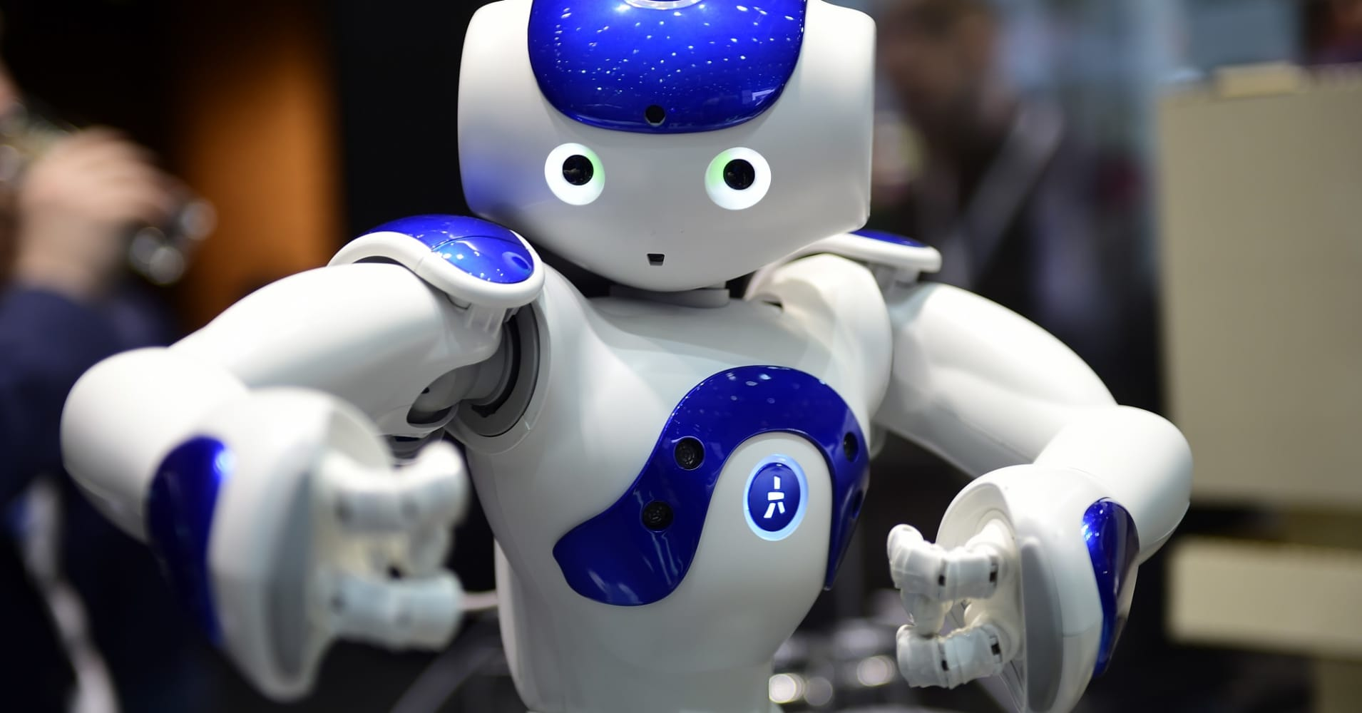 The robot 'Nao' performs Tai Chi in Hanover, Germany.