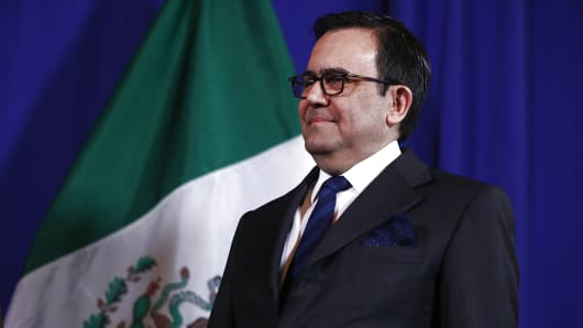 Mexico's Minister of Economy Ildefonso Guajardo Villarreal looks on during a joint news conference with U.S. Secretary of Commerce Wilbur Ross on March 10, 2017 in Washington, DC.