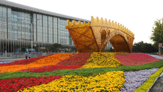 The 'Golden Bridge on Silk Road' structure at Beijing Olympic Park is one of the preparations for the Belt and Road Forum for International Cooperation on May 9, 2017 in Beijing, China.