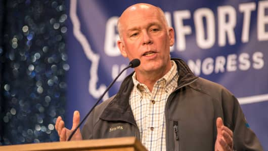 Republican Greg Gianforte campaigns for Montana's House of Representatives seat vacated by the appointment of Ryan Zinke to head the Department of Interior on April 22, 2017 in Bozeman, Montana.