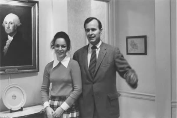 My mom and then-U.S. Ambassador to the United Nations George H.W. Bush, December 1972