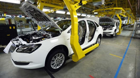 General Motors Buick cars being assembled at Wuhan auto plant in Wuhan, China.