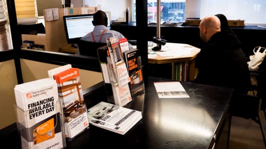 Brochures touting branded Home Depot credit cards at the retailer's location on 23rd Street in New York, May 3, 2017.