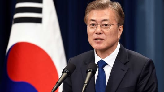 South Korea's new President Moon Jae-In speaks during a press conference at the presidential Blue House in Seoul.
