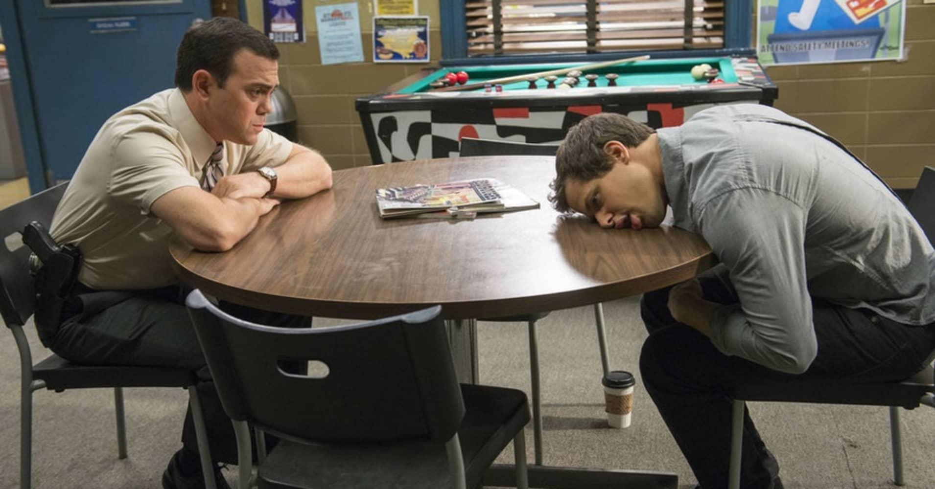Jo Lo Truglio as Charles Boyle, Andy Samberg as Jake Peralta on NBC's 'Brooklyn Nine-Nine.'