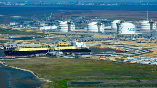 The Asia Vision LNG carrier ship sits docked at the Cheniere Energy Inc. terminal in this aerial photograph taken over Sabine Pass, Texas.