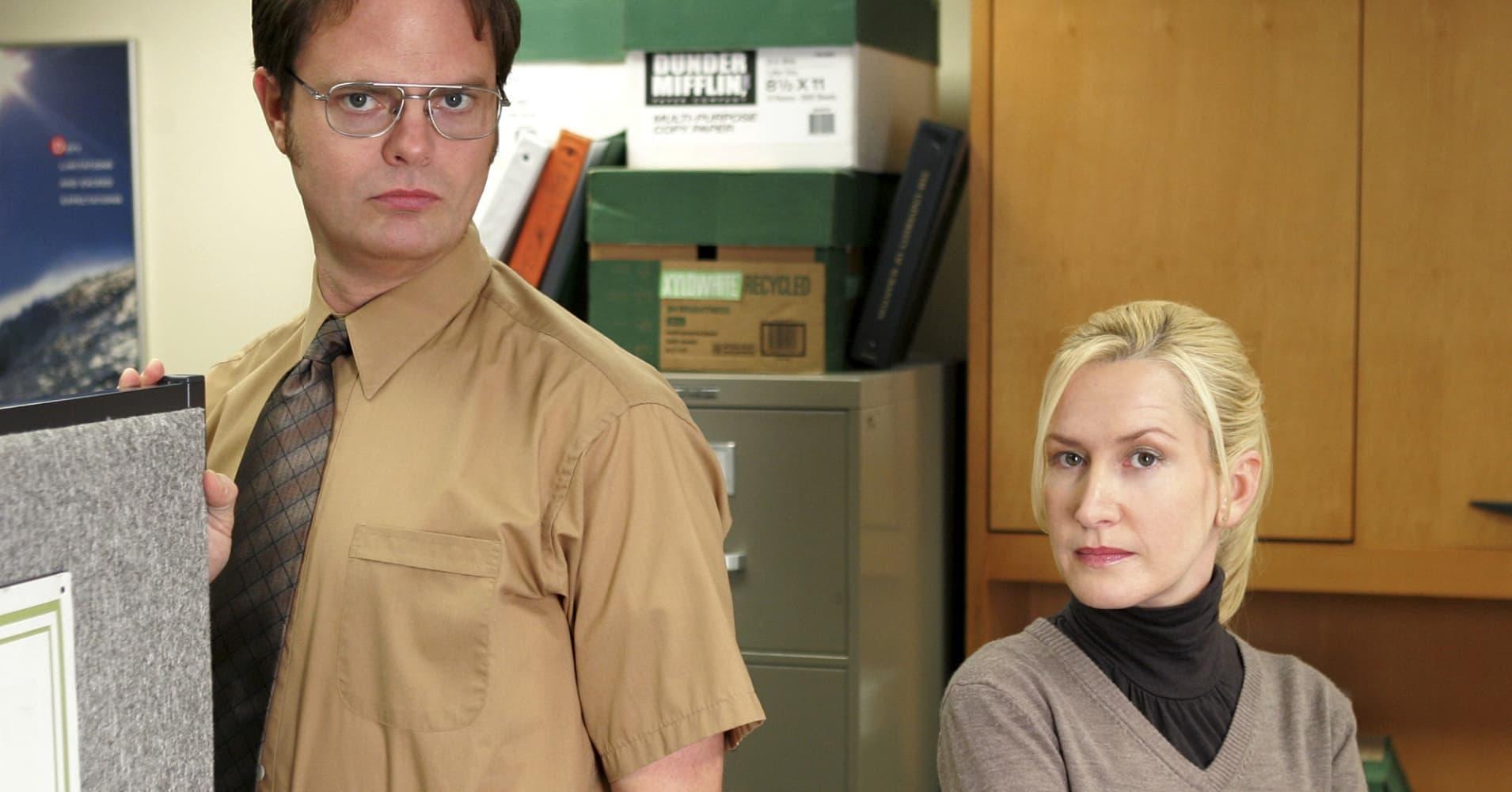Rainn Wilson as Dwight Schrute, Angela Kinsey as Angela Martin on NBC's 'The Office,'