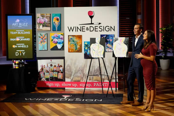"Patrick and Harriet Mills pitch Wine & Design on ""Shark Tank."""