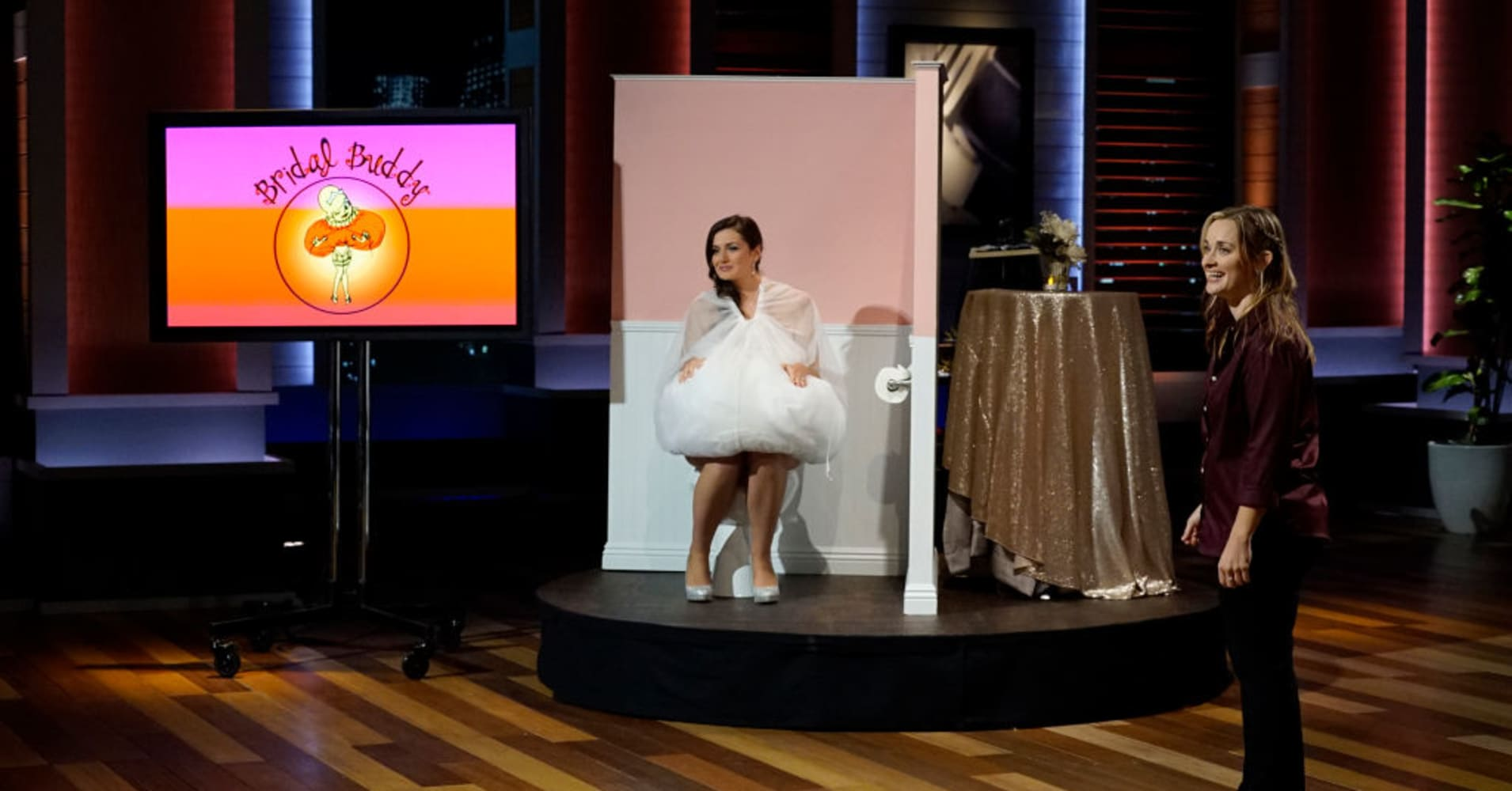 "Heather Stenlake pitching the Bridal Buddy on ""Shark Tank."""