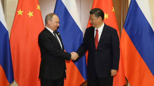 Russian President Vladimir Putin (L) shakes hands with Chinese President Xi Jinping ahead a bilateral meeting at Diaoyutai State Guesthouse in Beijing, China, 14 May 2017