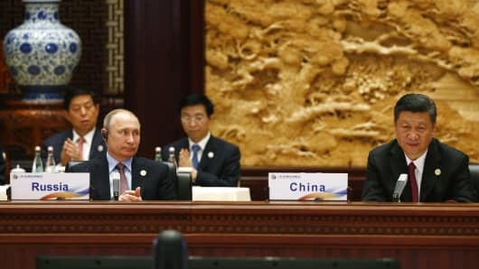 Russian President Vladimir Putin and Chinese President Xi Jinping at the Belt and Road Forum on May 15, 2017 in Beijing.