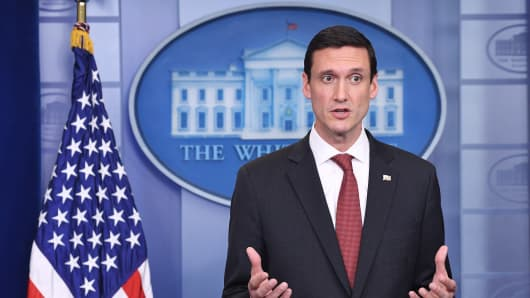 Homeland Security Advisor Tom Bossert speaks during a daily briefing in the White House on May 11, 2017 in Washington, D.C.