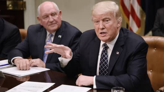 President Donald speaks as Agriculture Secretary Sonny Perdue looks on during a roundtable with farmers in the Roosevelt Room of the White House on April 25, 2017 in Washington, DC.