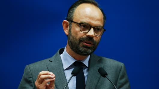 Mayor of Le Havre Edouard Philippe speaks as he presents the candidates for the 'La Republique en marche' party ahead of the June parliamentary elections