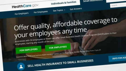 Website for Healthcare.gov for Small Business