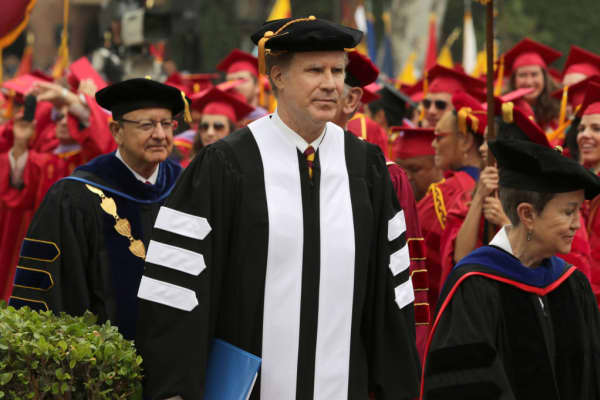 Actor Will Ferrell delivered the commencement address at the University of Southern California