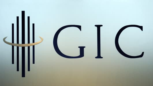 The logo for the Government Of Singapore Investment Corporation (GIC) is pictured in the company headquarters in Singapore