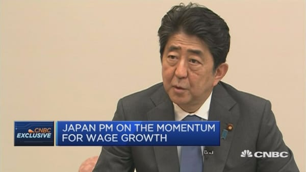 Japanese PM Abe on wage growth, Abenomics