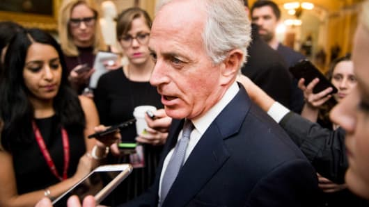 Sen. Bob Corker, R-Tenn., speaking with reporters.