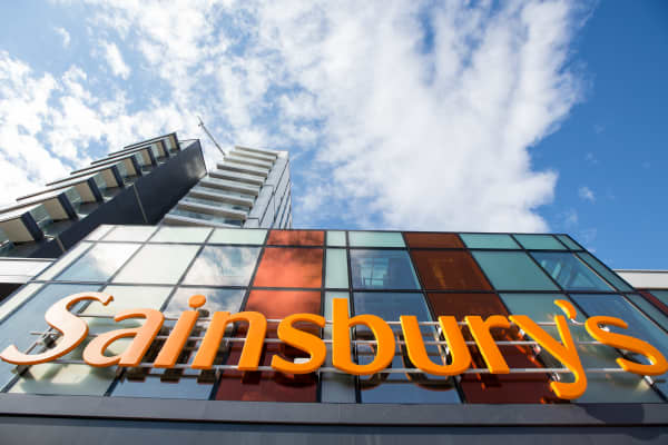 The Sainsbury's logo stands above the entrance to the J Sainsbury Plc flagship store in London, U.K.