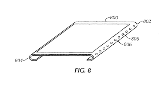 Apple's patented design for a device display with curved, bent edges.