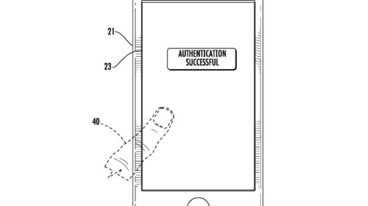 Apple's illustration for a fingerprint scanner embedded into a touch screen.