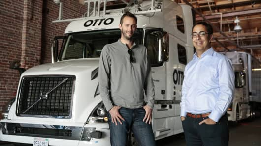 Anthony Levandowski, left, and Lior Ron, the co-founders of Otto, a 90-person start-up focused on developing self-driving truck technology, at the Otto offices in San Francisco, May 16, 2016. Uber has announced it has acquired Otto, a move that is the most recent indication of the company's ambitions for autonomous vehicles that can provide services to both consumers and businesses.