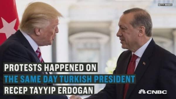 Violent protests unravel outside Turkish ambassador's residence