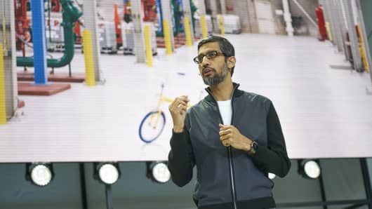 Google CEO Sundar Pichai speaks at the Google I/O developer conference on May 17, 2017.