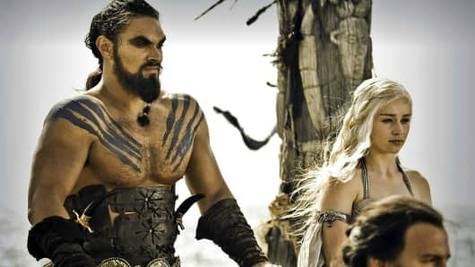 Khal Drogo who speaks Dothraki, with Daenerys Targaryen from Game of Thrones.