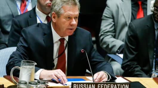 Russian deputy foreign minister Gennady Gatilov speaks to members of the security council during a meeting on nonproliferation of North Korea at United Nations on April 28, 2017 in New York City