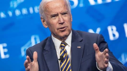 Former U.S. Vice President Joe Biden gestures as he speaks at the Skybridge Alternatives (SALT) conference in Las Vegas, Nevada, on Thursday, May 18, 2017.